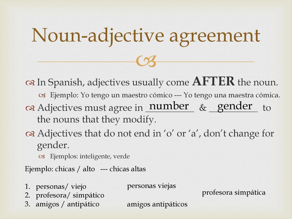 Noun Adjective Agreement Spanish