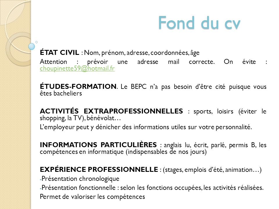 Le Curriculum Vitae Ppt Telecharger