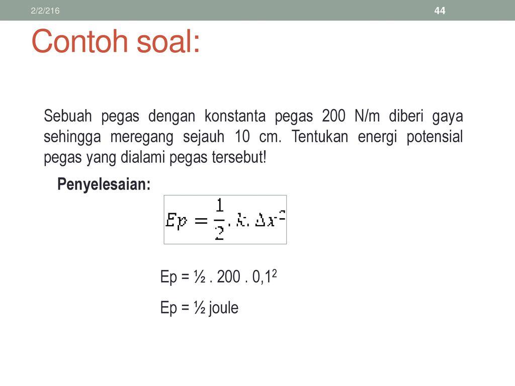 Contoh Soal Fisika Energi Potensial