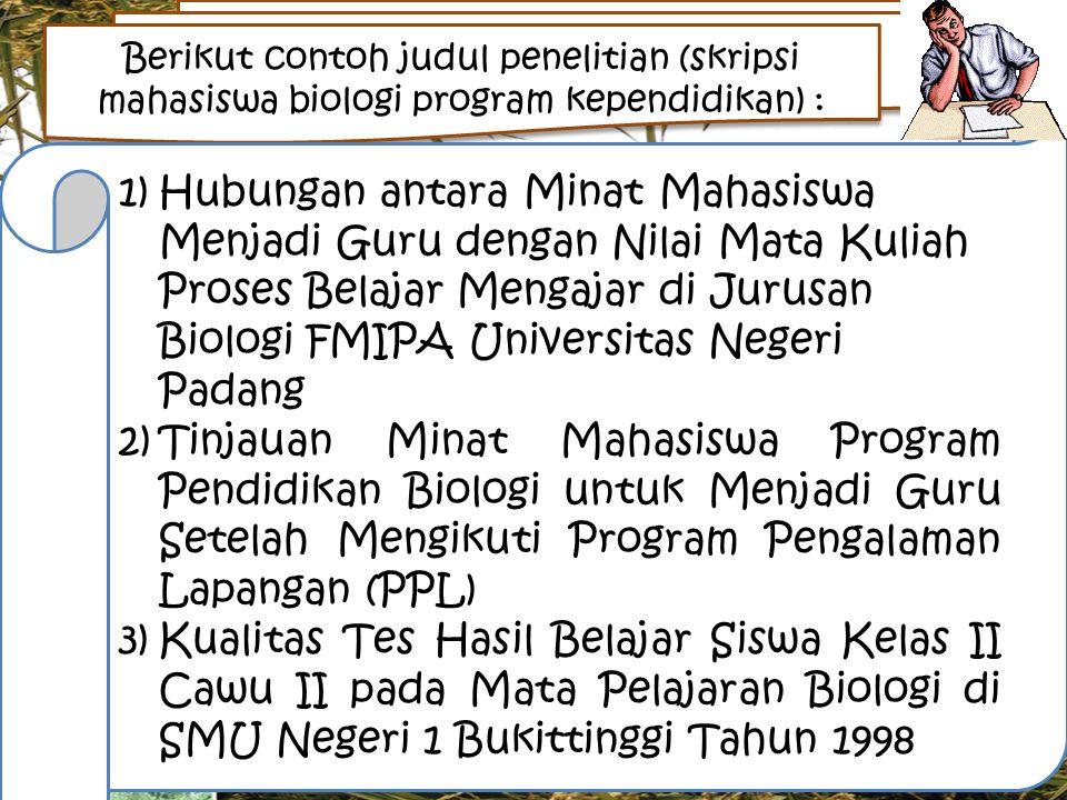 18 Judul Skripsi Biologi