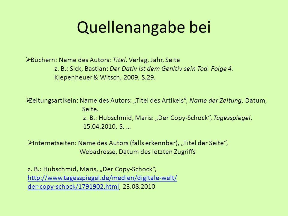 Quellenangabe Bei Buchern Name Des Autors Titel Verlag Jahr Seite