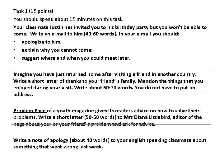 writing exam writing tasks writing task