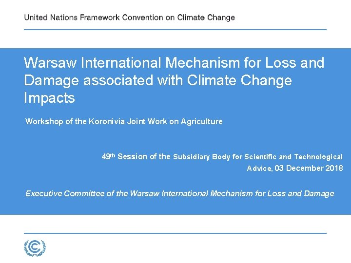 Warsaw International Mechanism for Loss and Damage associated
