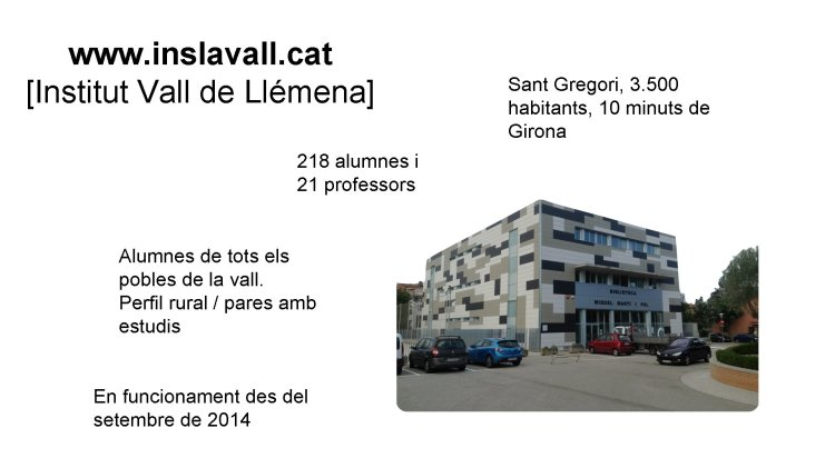 www.  inslavall.  gato [Institut Vall de Llémena] 218 alumnos y 21 profesores Alumnos de