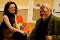 Carole Keegan admires her transformation of Mick Dowling at the Bealtine May Bush Festival, Rosenallis 2016 - photo Kathleen Culliton