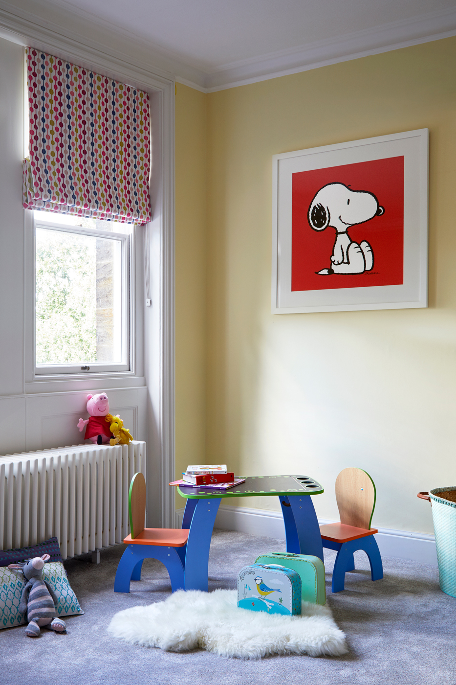 children's bedroom with yellow walls