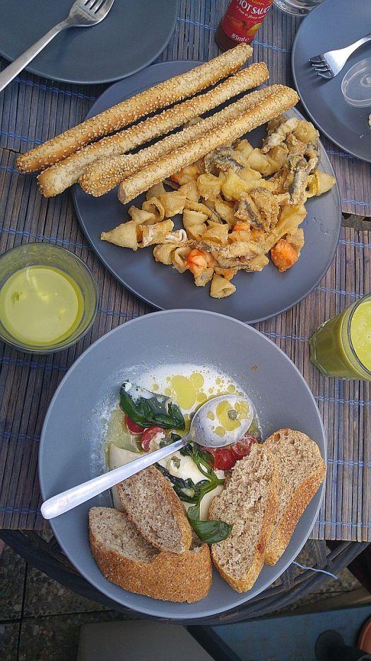 Second idea - eat leftovers! Agnoletti and burata