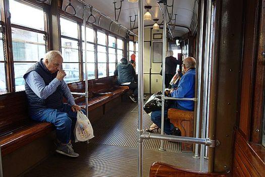 Riding tram number 1 in Milan