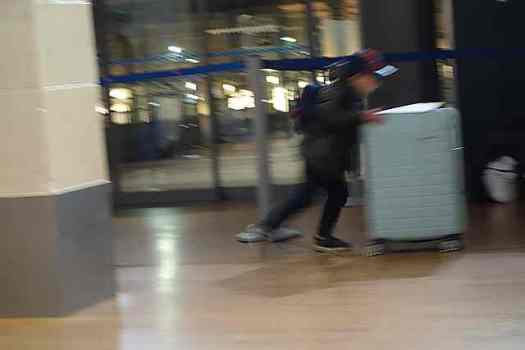 Two tiny children had fun rolling their family suitcase along at the Eurostar waiting area