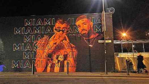 At night the street art looks richer