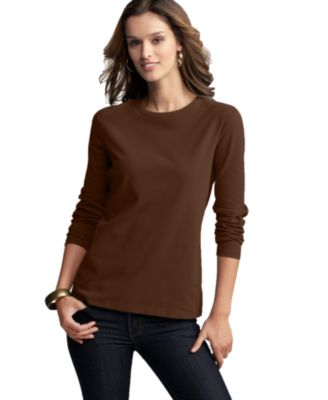 Style&co. Top, Long-Sleeve Crew-Neck Tee