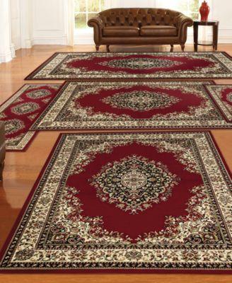 tuscany kerman 5 pc red rug set