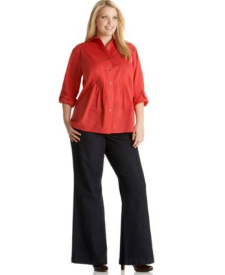 Charter Club Plus Size Rolled-Tab Shirt & Wide-Leg Jeans, Rinse Wash More Colors Available Charter Club Plus Size Rolled-Tab Shirt & Wide-Leg Jeans, Rinse Wash