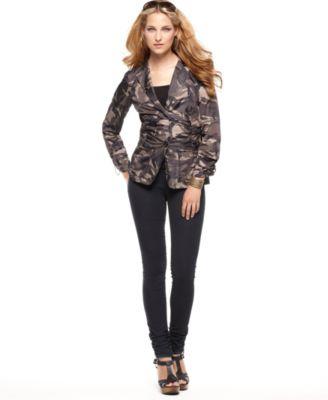 MICHAEL Michael Kors Long Sleeve Camouflage Jacket & Ruched Denim Leggings