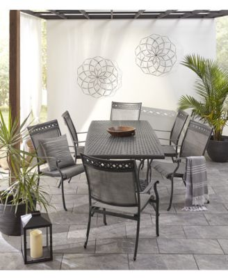 vintage ii outdoor cast aluminum 7 pc dining set 72 x 38 table 6 sling dining chairs created for macy s