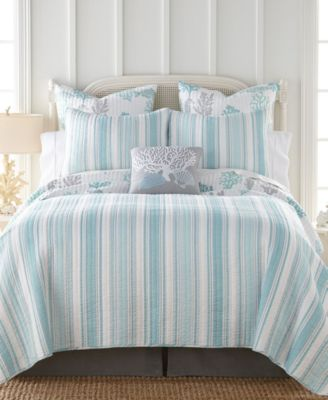 cape coral stripe reversible twin quilt set