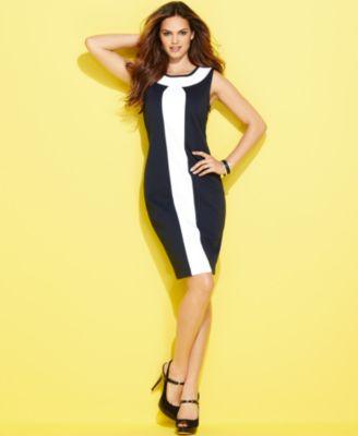 INC International Concepts Dress, Sleeveless Ponte-Knit Colorblock Sheath