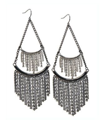 GUESS Earrings, Crystal Tassel Drop