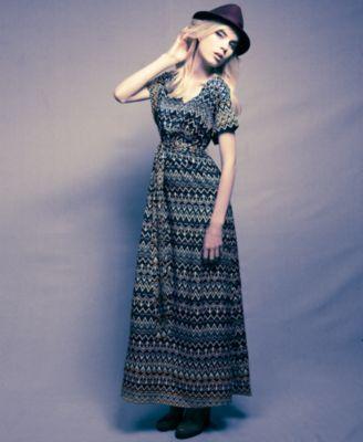 Nicole Richie for Impulse Dress, Short-Sleeve V-Neck Zigzag Striped Maxi