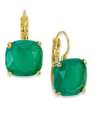 Kate Spade New York Earrings 12k Gold Plated Teal Stone