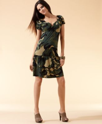 INC International Concepts Dress, Camouflage Sweetheart Neck
