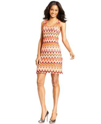 Karen Kane Dress, Sleeveless Crocheted Sheath