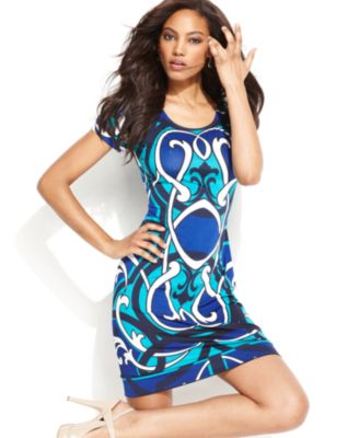 INC International Concepts Dress, Cap-Sleeve Scroll-Print Jersey