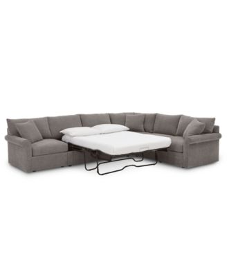 wedport 5 pc fabric l shape modular sleeper sectional sofa with square corner piece created for macy s