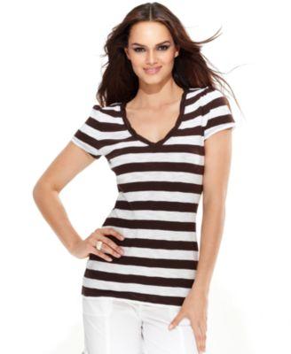 INC International Concepts Top, Short-Sleeve Striped Tee