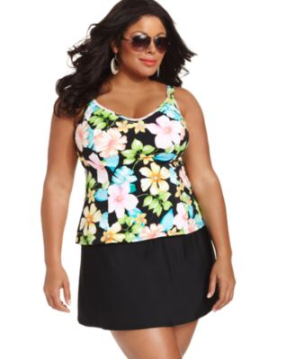 Miraclesuit Plus Size Swimsuit, Floral-Print Tankini Top & Skirted Swim Bottom
