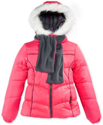 London Fog Kids Coat, Girls Puffer Jacket and Scarf
