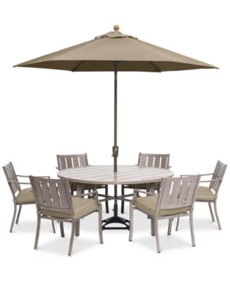 wayland outdoor aluminum 7 pc dining set 60 round dining table 6 dining chairs with sunbrella cushions created for macy s