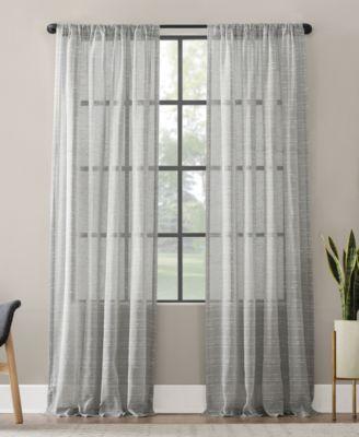 textured slub stripe anti dust curtain panel 52 x 63
