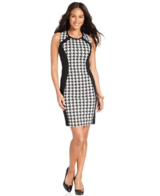 Ellen Tracy Dress, Sleeveless Houndstooth-Print Sheath