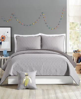 coty grey full queen quilt set 3 piece