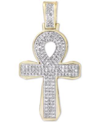 men s diamond ankh cross pendant 1 2 ct t w in 10k gold