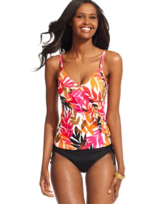 Caribbean Joe Swimsuit, Printed Ruffled Bright Floral Tankini Top & Slit Skirted Swim Bottom