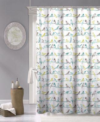 tropical birds fabric shower curtain 70 x 72