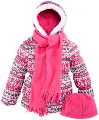 Pink Platinum Little Girls' or Toddler Girls' 3-Piece Hat, Scarf & Puffer Coat Set
