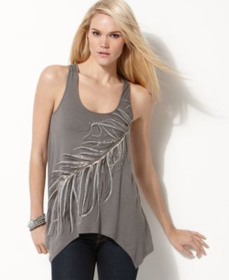 Miss Me Tank, Sleeveless Scoop Neck Studded Feather A-Line Top