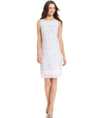 Ellen Tracy Dress, Sleeveless Lace Sheath