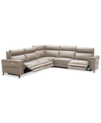 closeout raymere 5 pc leather sectional sofa with 3 power recliners power headrests and usb power outlet created for macy s