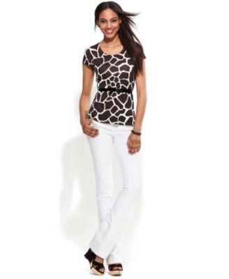 INC International Concepts Belted Peplum Sweater & Narrow Bootcut Jeans