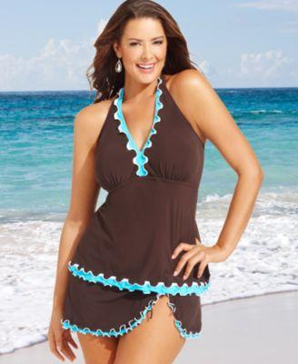 Profile by Gottex Plus Size Swimsuit, Halter Ruffle-Trim Tankini Top & Ruffle Skirted Swim Bottom