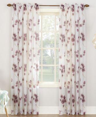 bimini textured floral 51 x 63 sheer curtain panel