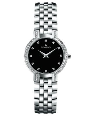 Movado Womens Swiss Faceto Stainless Steel Bracelet Watch