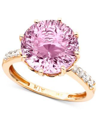 14k Rose Gold Pink Amethyst 6 34 Ct Tw Amp Diamond