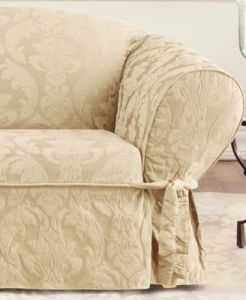Loveseat   Sofa Couch Covers  Sofa and Chair Slipcovers   Macy s Sure Fit Matelasse Damask Slipcover Collection