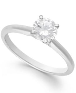 Macy s Diamond Solitaire Engagement Ring in 14k White Gold  Yellow     main image