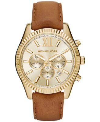 Michael Kors Mens Chronograph Lexington Beige Leather